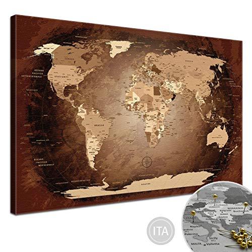 LanaKK Mappa del Mondo con Tappo di Sughero per Le Destinazioni Pinning, Mappa del Mondo Brown Colorato, Italiano, Stampa Artistica Bordo di Sughero in Marrone, 1 Pezzo, 100 X 70 Cm