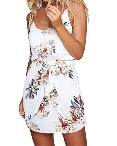 ACHIOOWA Sommerkleid Damen Ärmellos Strandkleid Chiffon V-Ausschnitt Blumen Casual Sexy Mini Trägerkleid Weiß XL