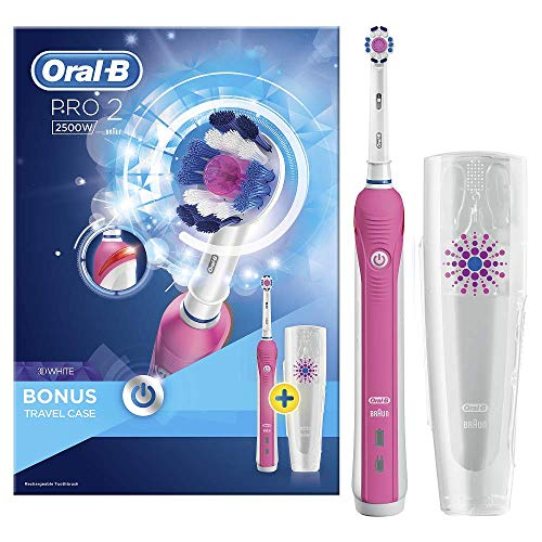 Oral-B Pro 2 2500 3D White Electric Rechargeable Toothbrush, Pink Handle, 2 Modes:...