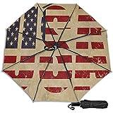Paraguas manual de triple pliegue con la bandera de Estados Unidos