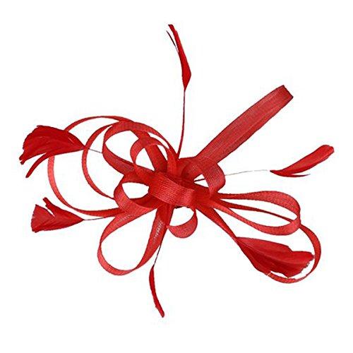 Frcolor Cérémonie Fascinator Chapeau pour Mariage Pince à Cheveux Plume Fascinator(Rouge)
