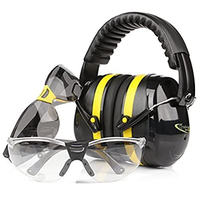 TRADESMART Shooting Earmuffs and Anti Fog Scratch Resistant Safety Glasses Combo Pack/Kit (2pk Clear-Tint)