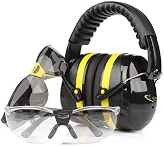 TRADESMART Shooting Earmuffs and Anti Fog Scratch Resistant Safety Glasses Combo Pack/Kit