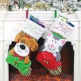 OldPAPA Chaussette de Noël, 2Pcs Chiot Mignon Chien et Chat Bas de Noël créatifs Chaussettes Bas de Noël pour Les décorations de Noël de Vacances