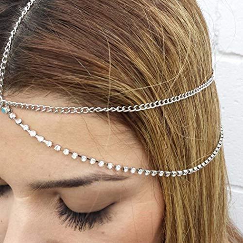 Yienate Bohême Bandeau Chaîne de Tête Accessoires de Cheveux avec Strass et Pompon pour Femmes et Filles (Argent)