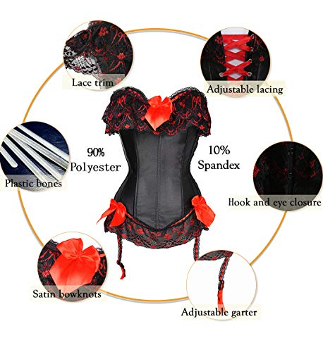 SLIMBELLE Brocade Corset Jacquard Overbust Gothic Satin Lace up Suspenders G String, Black-red, 3XL steampunk buy now online