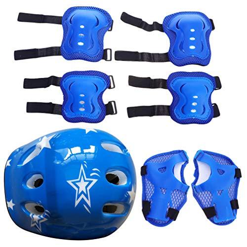 TOYANDONA Juego de 7 protectores para niños, casco ajustable, rodillera, coderas, almohadillas protectoras para patines de ruedas, monopatín, scooter, ciclismo, azul