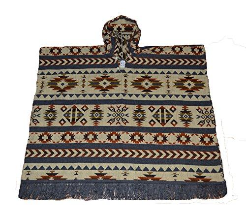 Native American Indian Style Große Hand Made Poncho Grau