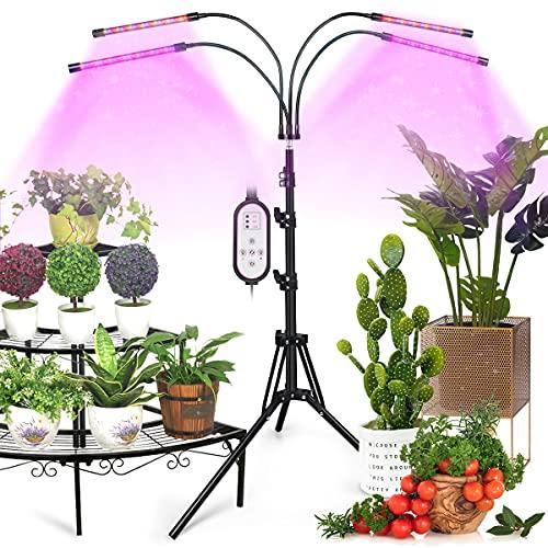 Pflanzenlampe LED-Vollspektrum Pflanzenlicht-Grow Lampe-Wachstumslampe -Zimmerpflanzen - 40w mit 80 Leds ,Zeitschaltuhr, Ständer, 3 Lichter Modi und 6 Arten von Helligkeit