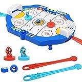 Alomejor Mini Air Hockey Ajuste en una Mesa de Escritorio Mesa de Hockey sobre Hielo portátil portátil Juegos de Viaje para niños Adultos Juego de Batalla multijugador
