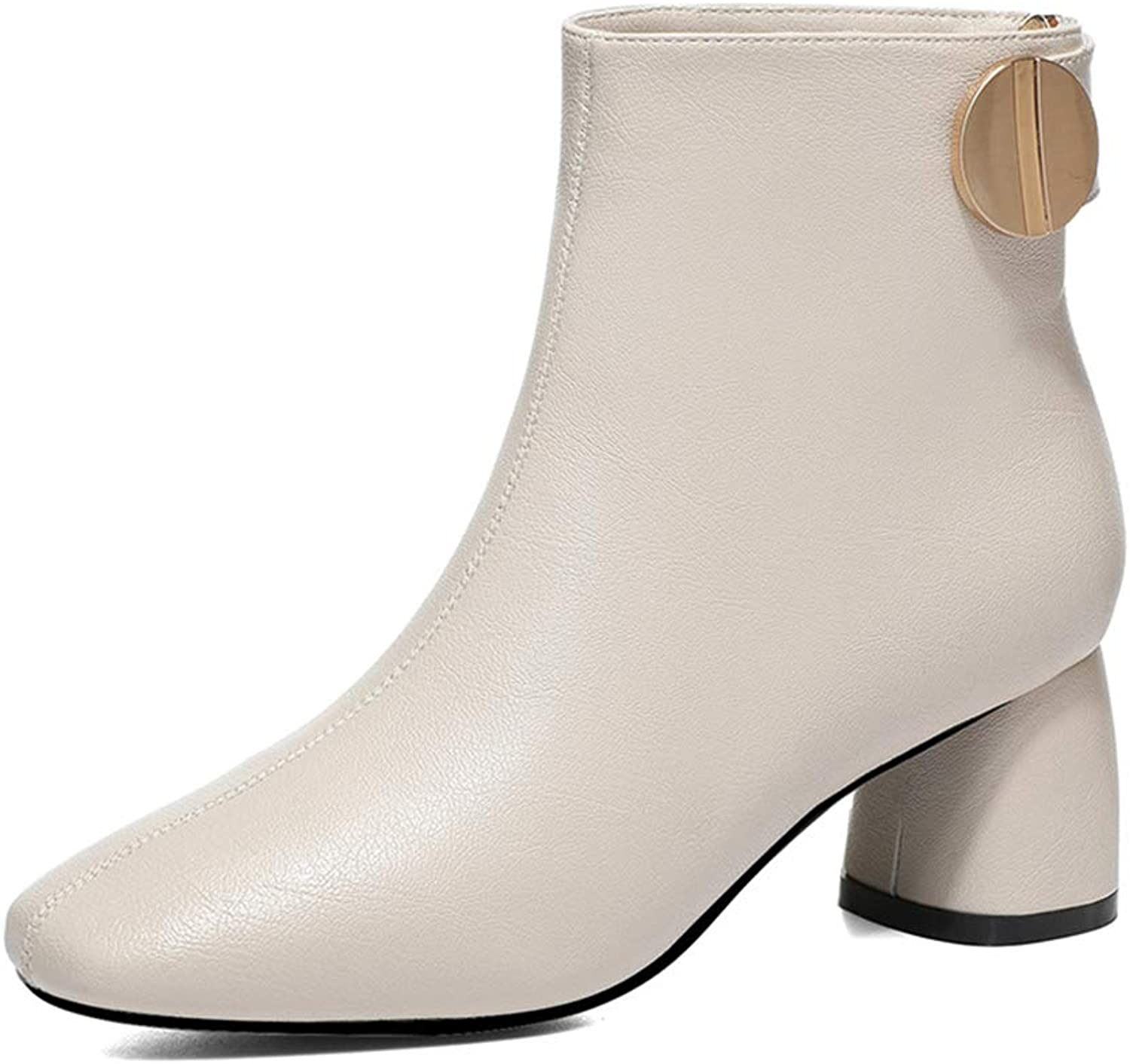 Women's Booties, Thick Heel Plus Velvet Leather Martin Boots Fall Winter Mid Heel Ladies Martin Boots (color   A, Size   37)