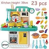 AQUYY Juego de Cocina para niños Toy Kitchen con Juegos de ollas y sartenes 26 Piezas Accesorios Juego de rol de Cocina Grande Juego de Cocina de Juguete, niños (Color:Verde,Size:una)