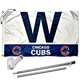 Chicago Baseball Team W Win Flag Pole and Bracket Kit