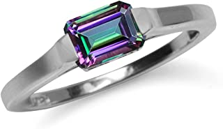 Silvershake 1.26ct. Octagon Shape Mystic Fire Topaz White Gold Plated 925 Sterling Silver Solitaire Ring