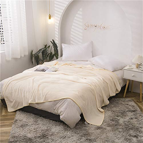 Fansu Flannel Fleece Plain Blankets Throws, Super Soft Touch Warm Fluffy Microfiber Bed Sofa Kid Home Blanket, Large Comfortable Pile Blanket for Sleep and Camp (100x120cm,Beige)