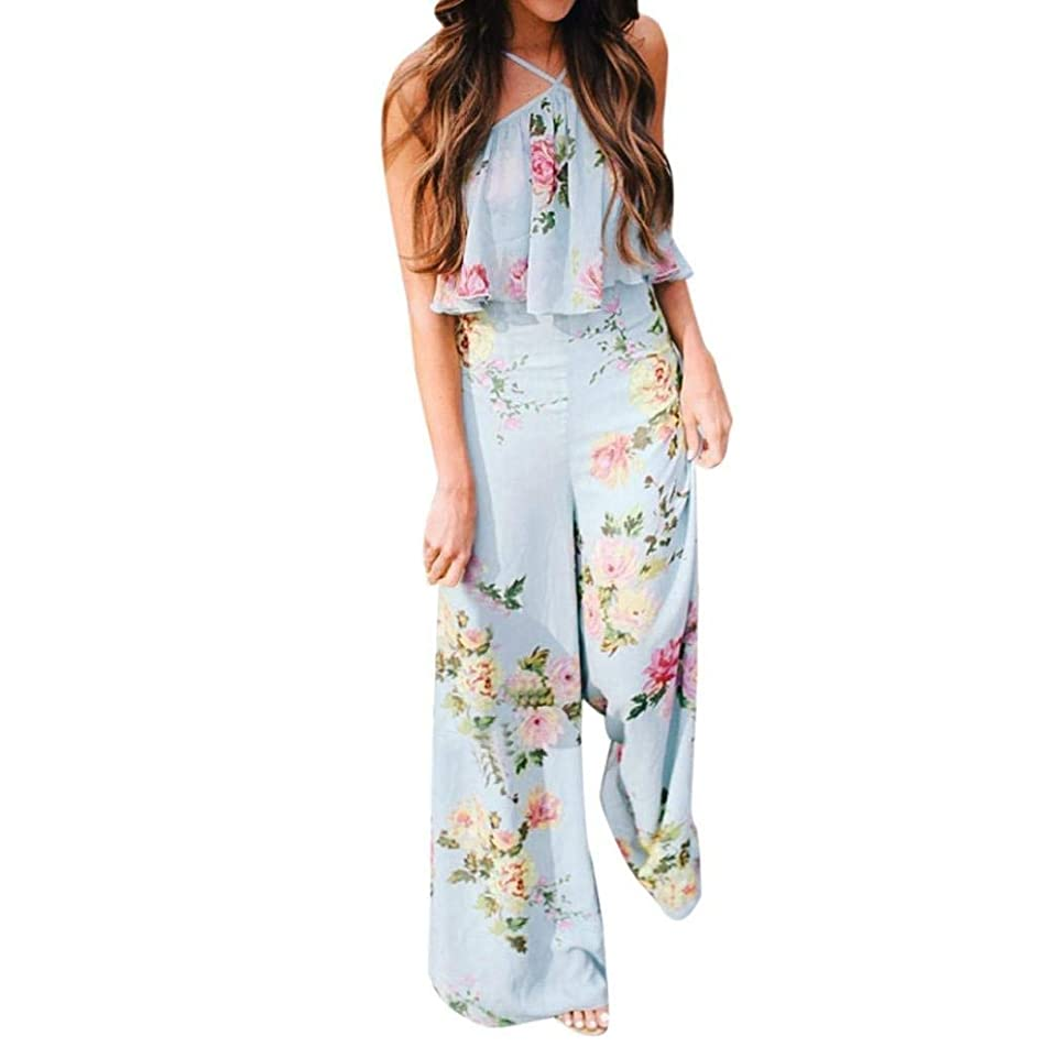 Sexy Jumpsuits, Summer Rompers,Women Strapless Floral Backless Jumpsuits Long Wide Leg Pants Floral Criss Loose Playsuits