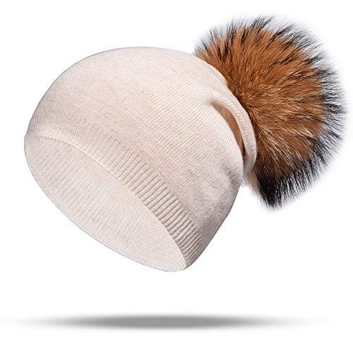 KILTYEN Strickpunkt Winter Hairball Haar Warme Mütze Outdoor Ski Plus Samt Warmes Ohr Passend Zu Hut Weiblich Tägliche Freizeit Shopping,Beige