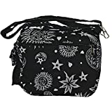 Sun Moon Stars and Planets Celestial Hippie Boho Crossbody Single Shoulder Bag (Black)