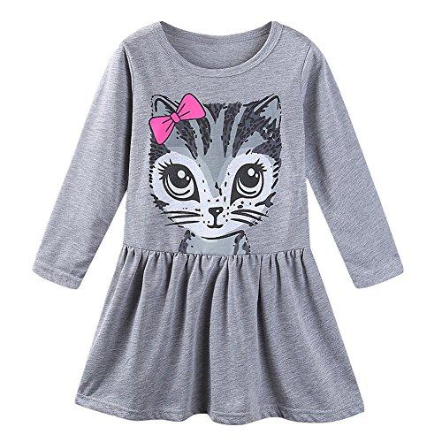 LittleSpring Little Girls Dresses Gray 6 Cute Cat Print Summer