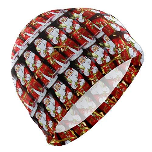 PNGLLD Swimming Cap Christmas Red Santa Claus Swim Cap for Men Boy Adult Youth Teen Swimming Hat No-Slip