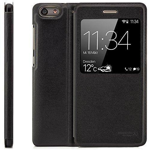 zanasta Tasche kompatibel mit Huawei G Play Mini (CHC-U01) Hülle Schutzhülle Flip View Cover mit Fenster & Kameraschutz | Schwarz