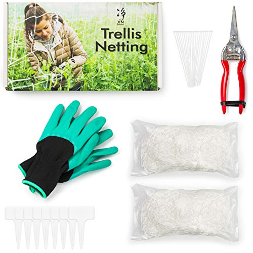 Trellis Netting – 2 Pack of Soft Mesh HeavyDuty Polyester Plant Trellis Net 5X20FT Square Net for Climbing Plants Indoor amp Outdoor Free: Garden Hand Pruner 20PCS Ties Garden Gloves amp 8PCS TLabel