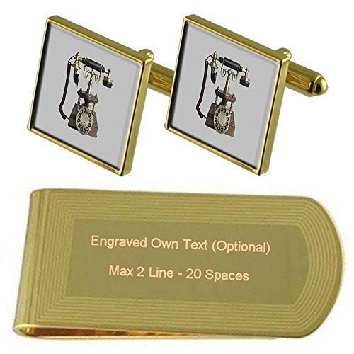 Select Gifts Antike Telefon Gold-Manschettenknöpfe Geldscheinklammer Gravur Geschenkset
