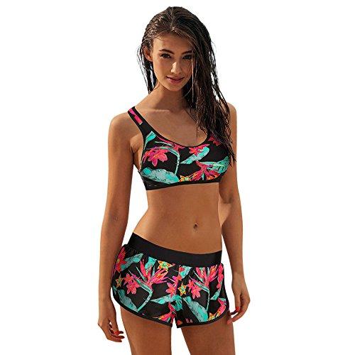 Women Two Piece,Women's Sexy Split Print Bikini Costume Padded Swimsuit Sporty Bathing Swimwear by JUSTnowok Green