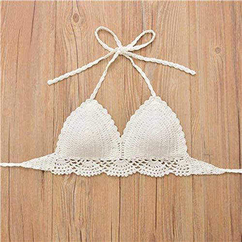 PJPPJH Conjunto de Bikini de Punto, Sujetador de Bikini de ganchillo Sujetador de Mujer acolchado Traje de baño Bikinis brasileños Halter Traje de baño