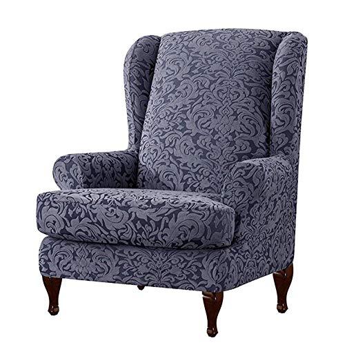 Morningtime Sesselbezug ohrensessel Stretch grau Ohrensessel Überzug Bezug Elastisch Sesselbezüge für fernsehsessel Sesselhusse mit Muster Elastisch Sofabezug