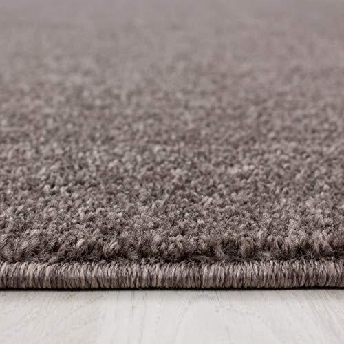 Carpet 1001 Wohnzimmer Teppich Kurzflor Modern Einfarbig Meliert Uni günstig Versch. Farben - Mocca, 280x370 cm