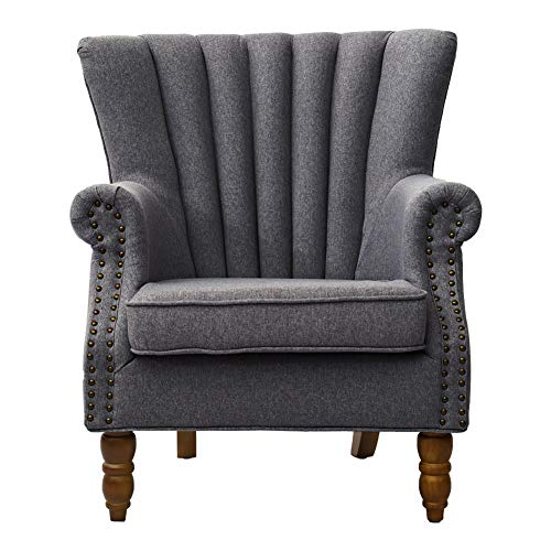 INMOZATA High Back Fireside Chair Linen Fabric Wingback Modern Armchair Arm Rest Accent Sofa Chair with Solid Wood for Living ROOM Bedroom (Gray)