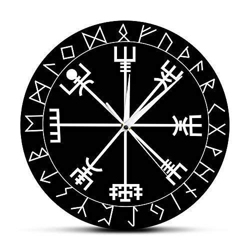 AIMICONG Orologio da Parete Norse Rune Compass Orologio da Parete al Quarzo Unico Vikings Vegvisir Symbol Runes Acrilico Orologio da Parete Vegvisir Compass Clock A