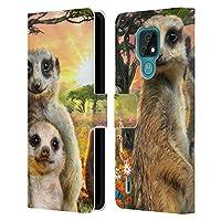 Head Case Designs オフィシャル ライセンス商品 Aimee Stewart ミーアキャット アニマルズ Motorola Moto E7 専用レザーブックウォレット カバーケース