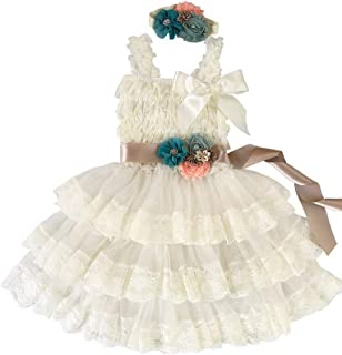 Girl's Vintage Chic Flower Girl Lace Dress Flower Sash Hair Flower