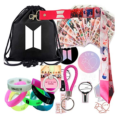Fans Gift Set, Map of the Soul Personal, Including Drawstring Bag, Stickers, Lanyard, Bracelet, Button, Phone Ring