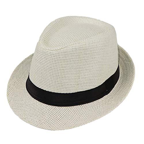JOYKK Niños Sombrero de Paja Verano Playa Jazz Panamá Trilby Fedora Sombrero Gángster Gorra Sombreros al Aire Libre Respirable Niñas Niños Sombrero para el Sol - C # Blanco Leche