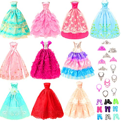 BARWA 10 Pcs Dresses with 17 Accessories Handmade Doll Clothes and Accessories Wedding Gowns Party Dresses for 11.5 inch Dolls