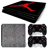 PS4 Slim Whole Body Vinyl Skin Sticker Decal Cover for Playstation 4 Slim System Console and Controllers - Jordan Black Cement