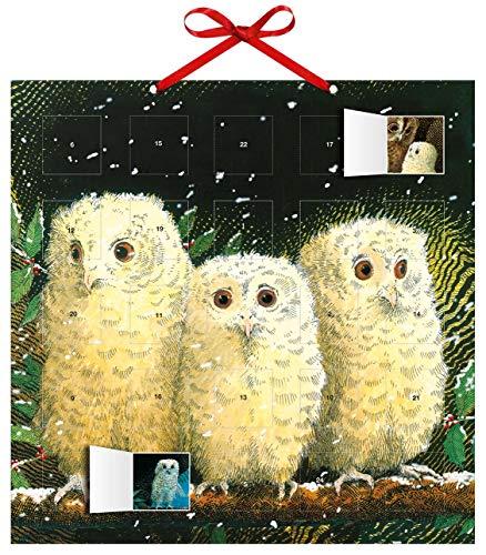 Adventskalender Eulenkinder – mit 24 Stickern – mit Glitzer – mit rotem Stoffband – Format 30 x 30 cm