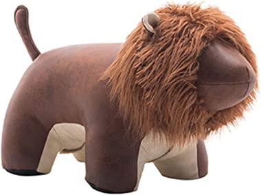 Footrest Footstool Leather Ottoman Creative Lion Shoe Stool Unique Sofa Holiday Gifts Corridor Children's Room Animal Chair (