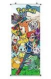 Großes Pokemon Rollbild / Kakemono aus Stoff | Poster 100x40cm | Motiv: Ash Ketchum & Pokemons