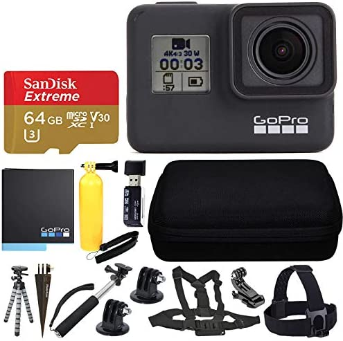 GoPro HERO7 Black Sports Action Camera SanDisk 64GB Extreme UHS I microSDXC Memory Card Hard product image