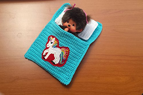 Puppenbettchen - Schlafsack für Monchichi 20 cm oder kleine Puppen Regenbogeneinhorn