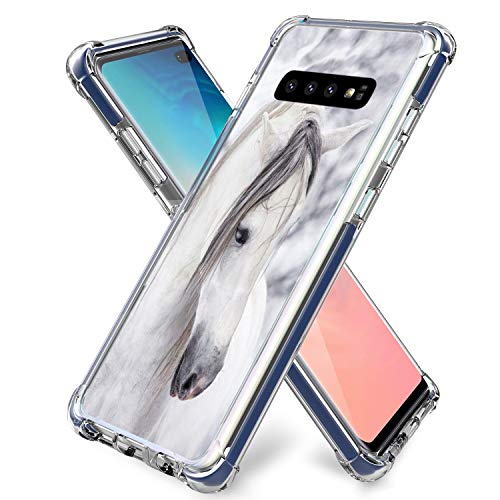 S10 Plus Case White,Gifun [Anti-Slide] and [Drop Protection] Soft TPU Protective Case Cover Compatible with Samsung Galaxy S10 Plus/S10+ 2019 Release 6.4' - White Mr Horse