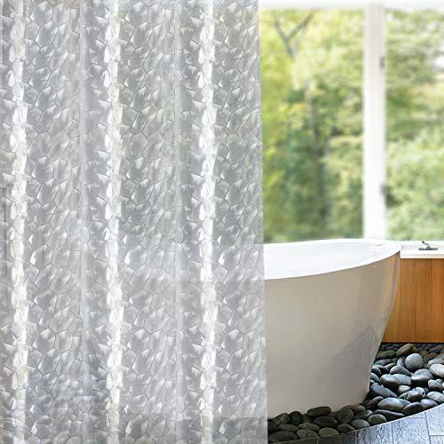 SPARIN Duschvorhang Anti-Schimmel [180x200cm] Transparent PEVA 3D Kubisch Weiß wasserdichter Duschvorhang mit Gewicht Magnet und 12 Duschvorhangringen, Anti-Bakteriell Vorhang für Dusche und Badewanne