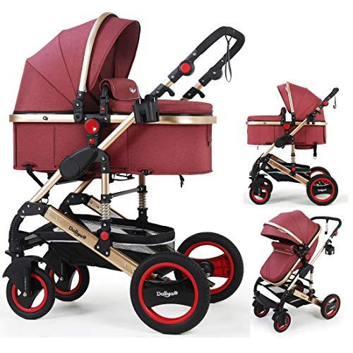 Daliya Bambimo 2in1 Kinderwagen - Kombikinderwagen 9-Teiliges Set incl. Babywanne & Sportsitz/Buggy - 1-Klick-System/Alu-Rahmen/Voll-Gummireifen/Sonnenschutz/Getränkehalter in Elegance-Rot