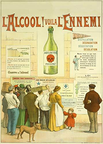 Vintage bieren, wijnen en sterke drank 'Absint et Absintheurs' door Henri Balesta, 1932, 250gsm Zacht-Satijn Laagglans Reproductie A3 Poster