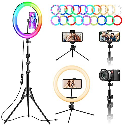 """12"""" Ring Light with Stand and Phone Holder, Selfie Ring Lights with Tripod Stand for TikTok YouTube Video Recording, LED Circle Lamp Tripod with Ring Light for iPhone, Light Ring for Phones, Cameras"""