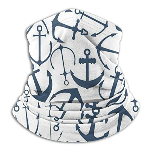 SARA NELL Neck Gaiter,Blue Anchors Nautical Beach Theme Ocean Windproof Face Bandana Magic Scarf Mask Headwear For Men & Women